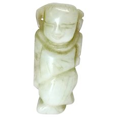 Antique White Nephrite Jade Chinese Man Collectible Figurine