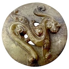 Vintage Carved Natural Brown Jade Dragon Bi Disk  - 1900's