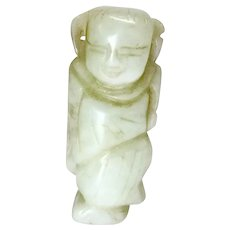 Vintage Nephrite White Jade Chinese Man Collectible Figurine