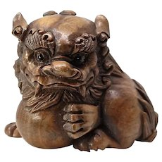 Vintage Carved Chinese Boxwood Fo Dog Figurine- signed