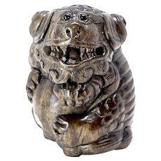 Vintage Chinese Carved Teak Wood Fo Dog Netsuke Figurine - Signed