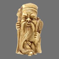 Vintage Carved Bone Figurine Lucky God of Longevity