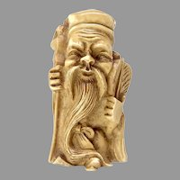 Vintage Carved Bone Figurine Lucky God of Longevity