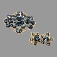 Vintage 1950's CoroCraft Design Signed Rhinestone Brooch/Pin and Earrings Set