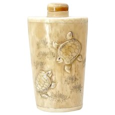 VIntage Carved Bone Turtle Snuff Bottle