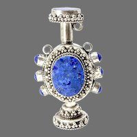 Antique Indian Silver and Lapis Lazuli Snuff Bottle