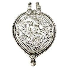 Antique Silver Indian Hanuman Monkey God Amulet Pendant