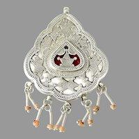 Vintage Kazakh Afghan Silver Repousse with Dangles Pendant
