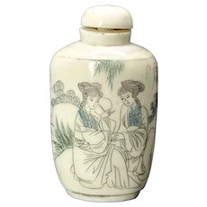Vintage Chinese Etched Bone Bottle Snuff Bottle