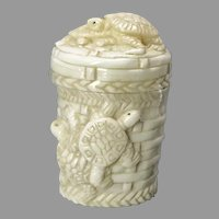 Vintage Carved Chinese Bone Turtle Pill Box