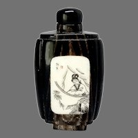 Vintage Chinese Horn and Etched Bone Snuff Bottle