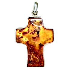 Vintage Large Baltic Amber and Sterling Silver Cross Pendant