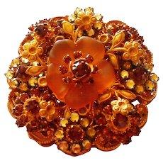 Signed Stanley Hagler Floral Motif Brooch in Browns & Ambers