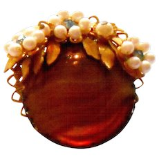 Signed Stanley Hagler Tigers Eye Art Glass w/ Imitation Pearls Brooch