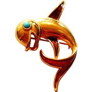 Signed Boucher Gold Tone Enameled Dolphin Brooch c. 1960