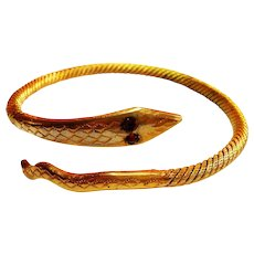 Unsigned Coil Style Victorian Gold Filled Snake Bracelet circa 1900
