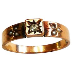 Victorian 14K Rose Gold Diamond & Seed Pearl Ring size 8