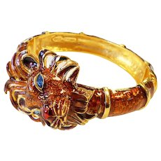 Signed Kenneth J. Lane Large Dimensional Enamel & Rhinestone Lion Cuff Bracelet