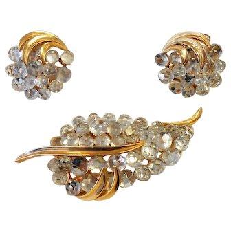 Signed Trifari Clear Crystal Briolette Brooch & Earring Set circa 1960