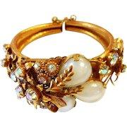 Unsigned Selro Gold Tone Floral Spray Cuff Bracelet c. 1960