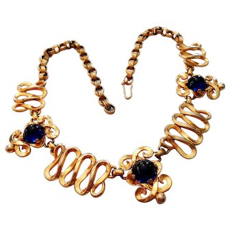 Signed Schiaparelli Blue Cabochon Gold Tone Necklace c. 50