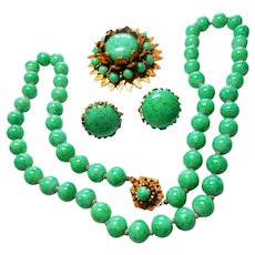 Signed Miriam Haskell Peking Glass Necklace, Earring & Brooch Set c. 50