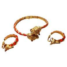 Signed Hattie Carnegie Tiger Bracelet w/ matching Giraffe Earrings c. 60