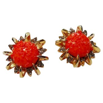 Signed Schiaparelli Coral Art Glass Earrings c. 60