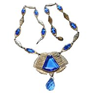 Signed Czecho-Slovak Silver tone & Blue Glass Necklace circa 1920