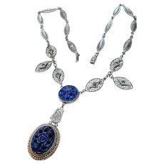 Unsigned Art Deco Rhodium Plated Filigree Necklace w/ Carved Blue Glass c. 1920