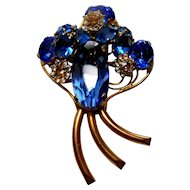 Signed Fred Block Huge Gold Tone Blue Rhinestone Clip circa 1940