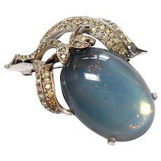 Signed Jomaz Moonstone Glass Cabochon Fruit Brooch circa 1950