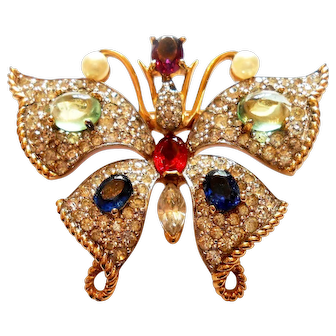 Signed Jomaz Pave Butterfly Brooch w/ Jewel Look Details circa 60