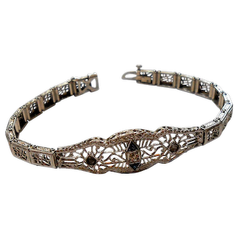 Signed J.H.P. Rhodium Plated Filigree Art Deco Bracelet circa 1920