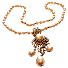 Signed Miriam Haskell Imiatation Pearl & Rose Montee Necklace circa 1950