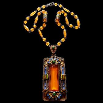 Signed Czechoslovakia Yellow Glass W/ Enameled Detail Necklace c. 1920