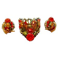 Signed Eugene Rhinestone, Bead & Rose Montee Brooch & Earring Set circa 50