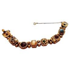 Signed Goldette Large Victorian Revival Slide Bracelet circa 1960
