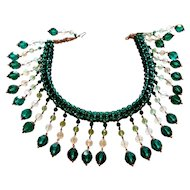 Outstanding Green & Clear Crystal Bib Necklace circa 1950