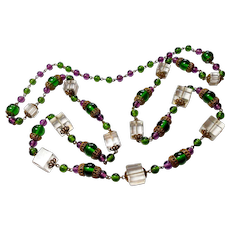 Unsigned Czechoslovakian Unique Glass Cube & Bead Necklace c. 30