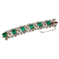 Signed Jomaz Paved with Flawed Imitation Emerald Bracelet circa 1960