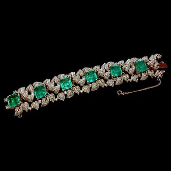 Signed Jomaz Paved with Flawed Imitation Emerald Bracelet circa 1960