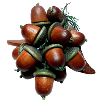 Early Miriam Haskell Carved Wood Acorn Brooch c. 1930