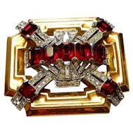 Signed McClelland Barclay Brooch in Red & Clear Rhinestones c. 40