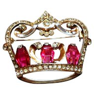 Signed Sterling Crown Brooch w/ Imitation Rubies circa 1940