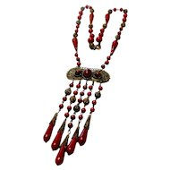 Unsigned Red Czechoslovakian Glass Necklace W/ Brass Details c. 1920