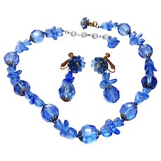 Signed Miriam Haskell Blue Glass Puzzle Bead Necklace & Earring Set c. 50