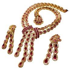 Signed Trifari Rich Fuchsia Rhinestone Necklace & Earring Set circa 1960