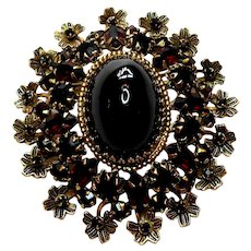 Signed Schreiner New York Imitation Garnet Brooch circa 1960
