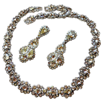 Signed Trifari Clear Rhinestone Necklace and Shoulder Duster Earring Set c. 50